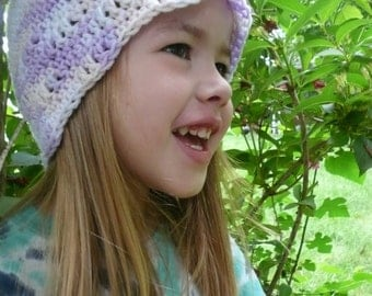 Girls' Cloche Hat--purple, pink, white, lavender beanie, winter hat