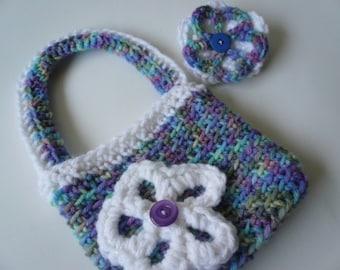 Girls Purse and Barrette, purple blue green crochet purse, flower clip