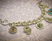 Hamsa Evil Eye Bracelet -- Antique Silver Finish  -- Mother's Day Gift