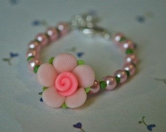 Baby Bracelet  Pink Polymer Clay Flower  -- Spring / Easter Collection -infant, toddler,  flower girl, birthday gift --