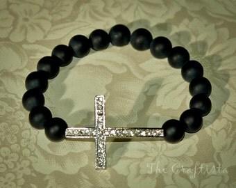 Sideways Cross Bracelet -- Rhinestone Silver Cross -- Authentic Black Onyx Matte Finish -- Easter Bracelet
