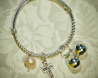 Baptism Baby Bangle -- Freshwater Pearl  -- Silver Cross Charm -- Infant, toddler