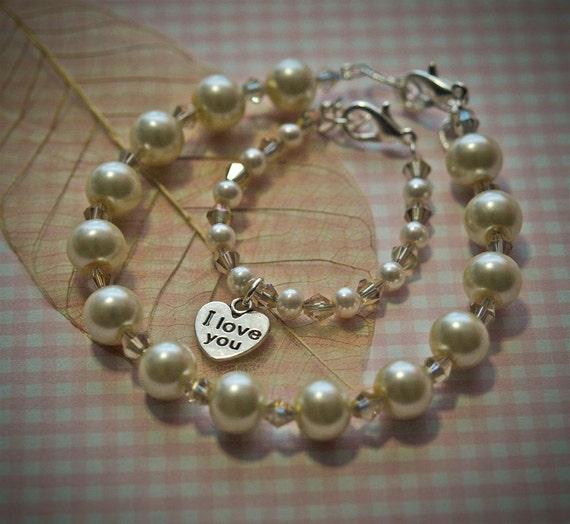 Mother Daughter Bracelet Set, Vintage Color Ivory  Pearl Bracelets, Big Sister Little Sister Bracelets, Mom and Baby Matching Bracelets