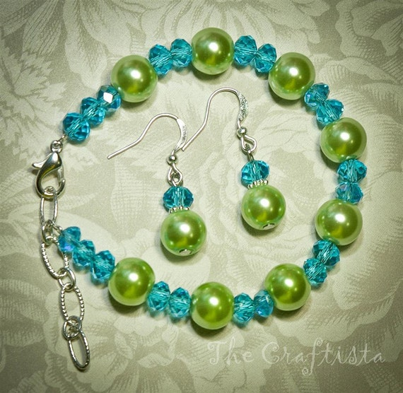 Set of Bracelet and Earrings -- Apple Green Glass Pearls and Swarovski Crystals -- Bridesmaids and flowergirls