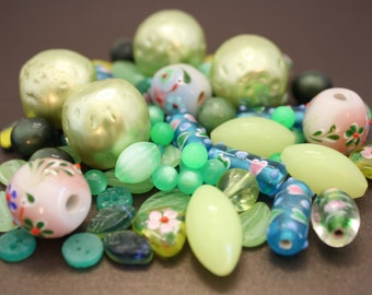 Vintage beads, assorted styles and make, green hues, 75 pcs