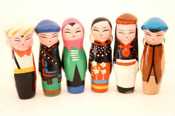 6 Clay figurines in ethnic costumes - altered art, art doll, assemblage