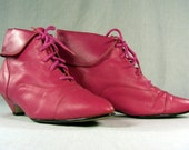 SALE Pink Pixie Lace Up Kitten Heel Boots, Size 7