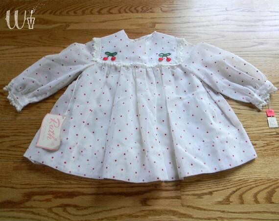 Cherry Toddler Dress 60's White / Red Polka Dot Child Dress 3T