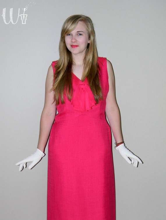 R E S E R V E D for Pamela --- Pink 60's Wiggle Dress / Linen and Silk Cocktail Dress Fuchsia Magenta XL