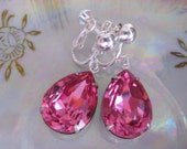 Swarovski Rose Pink Crystal Drop Earrings. Estate Style Pink  Drop Earrings. Screw on Earrings