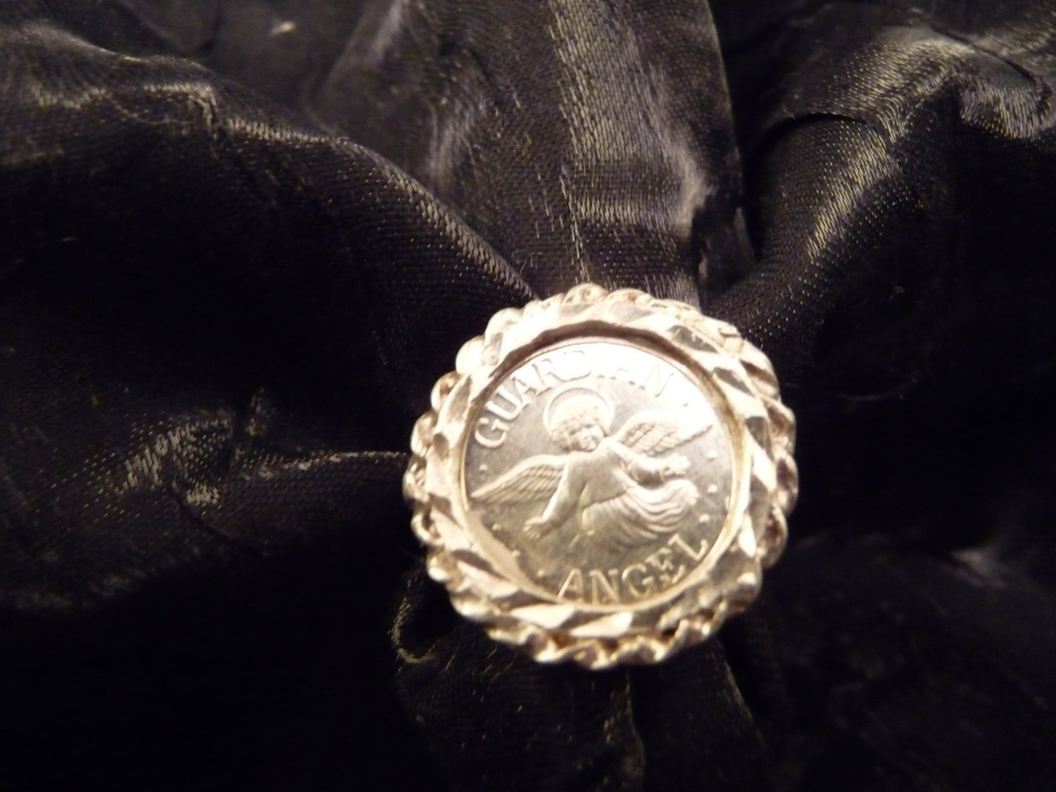 Vintage Sterling Silver Guardian Angel Coin Ring
