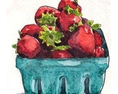 Strawberry art kitchen art fruit painting - Watercolor Original Art Painting