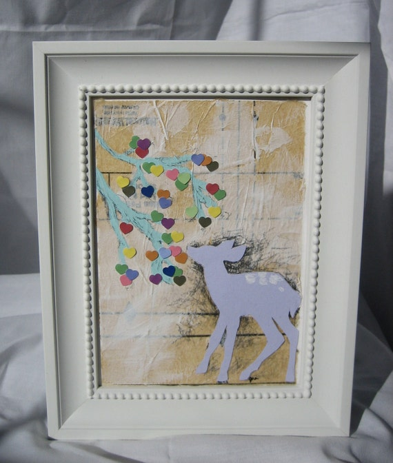Love Nourishes - original deer woodland mixed media collage