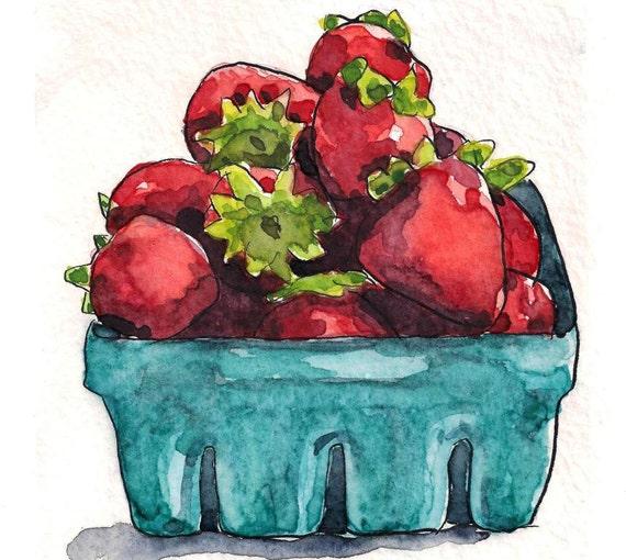 Strawberry art kitchen art fruit painting - Watercolor Original Art Painting
