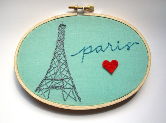Reserved for Mel Paris hand embroidery hoop wall art - Eiffel tower Paris France mint feat. on Mollie Makes