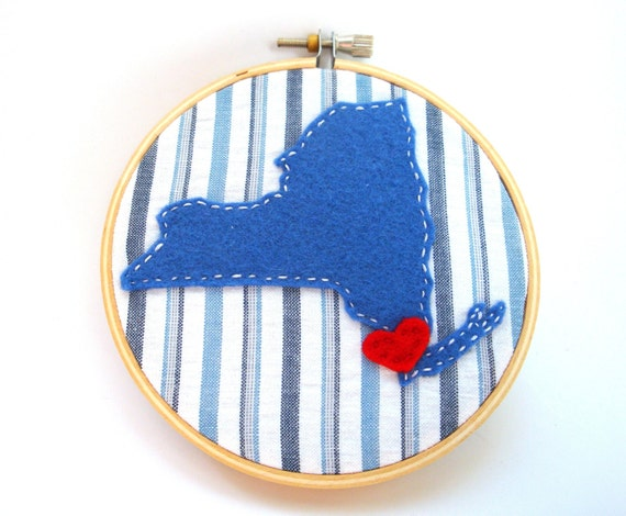 Clearance new york embroidery hoop decor state art ornament