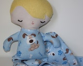 Baby Boy blue puppy dog fabric Baby Doll with Blanket