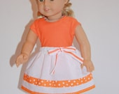 """CUSTOM FOR SHELLY Doll Clothes Orange tee & cropped leggings, White gathered skirt, fits 18"""" doll like American Girl Doll"""