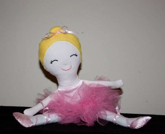 "Sweet Pink Satin Ballerina Doll 17"" Tutu Christmas stocking Get Well Birthday Ballet Recital"
