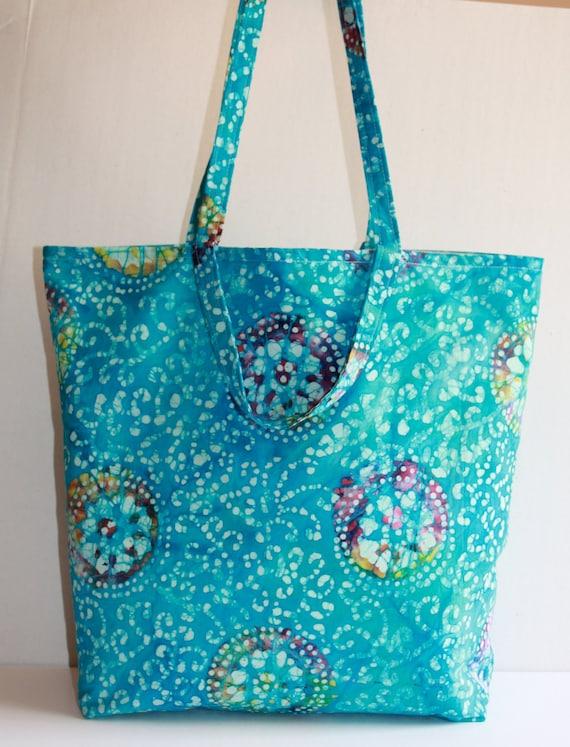 SALE   Batik Aqua Tote Bag cruise, market, books, overnight, shopping, travel, grocery, diaper, lined, double handles, inside pockets