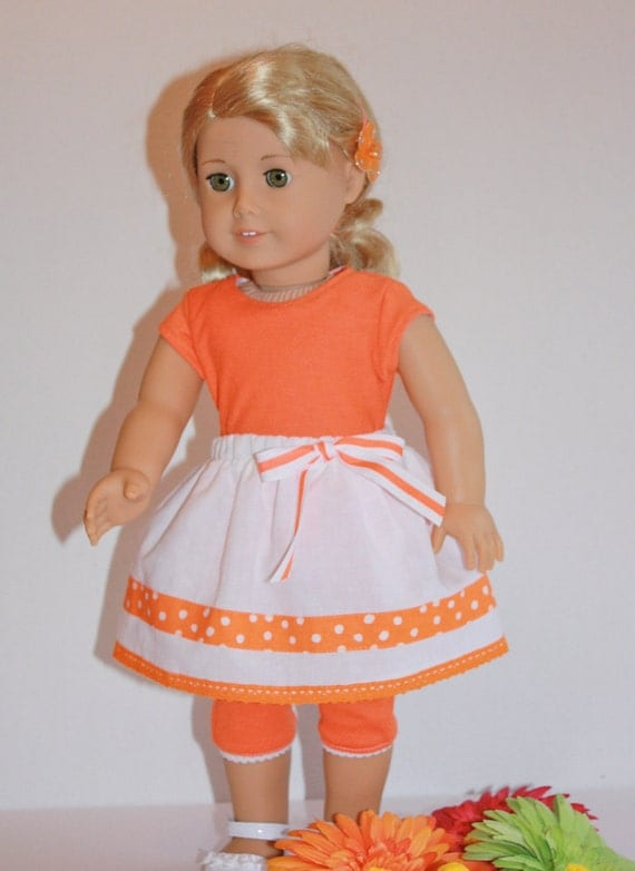"CUSTOM FOR SHELLY Doll Clothes Orange tee & cropped leggings, White gathered skirt, fits 18"" doll like American Girl Doll"