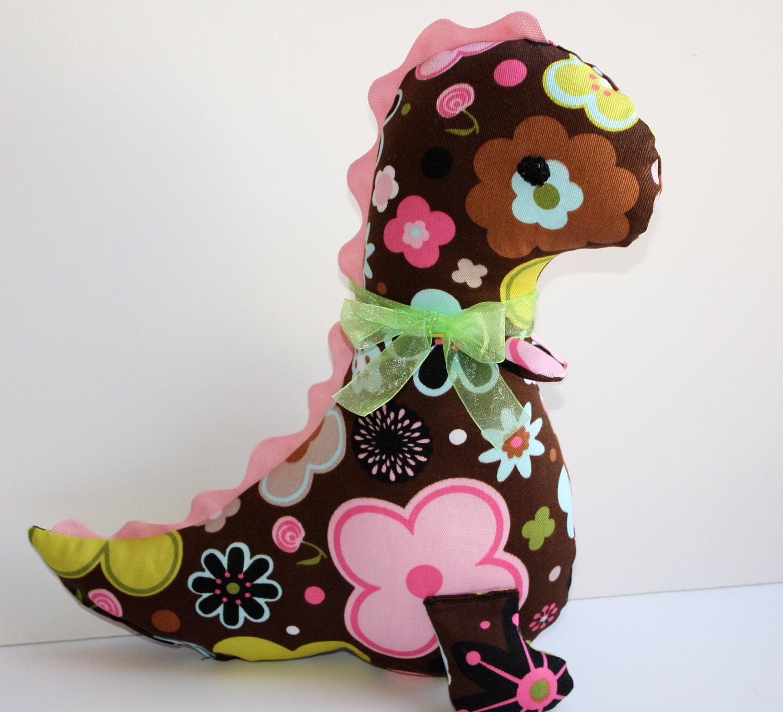 Girly Chocolate Brown And Pink Dinosaur