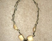 50% OFF--Black and Tan Glass Pendant Hemp Necklace