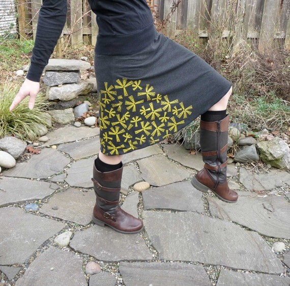 SALE - SIZE Xlarge ONLY - Charcoal Grey with Yellow seedlings Handprinted Skirt