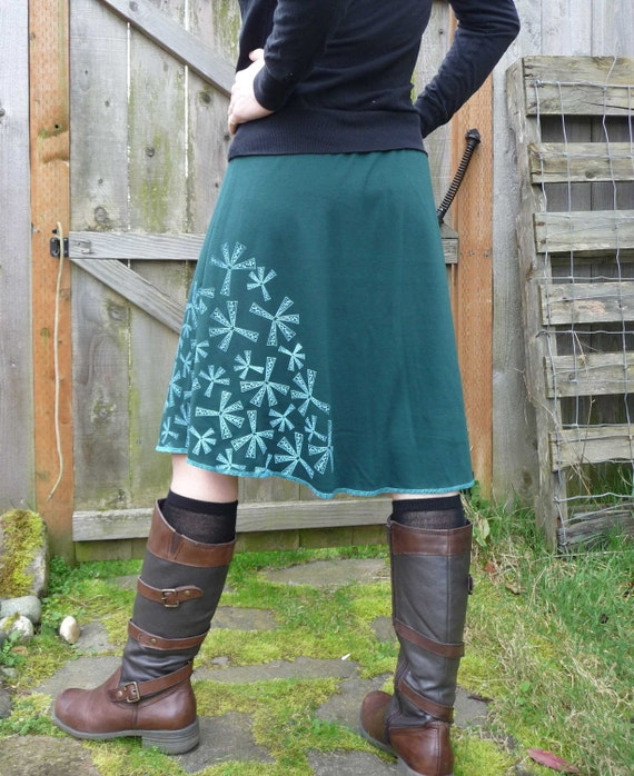 SALE - size XS ONLY - Evergreen Skirt Hand printed with Seedling Design