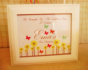 Party Sign: Sunflowers & Butterflies by Cakewalk