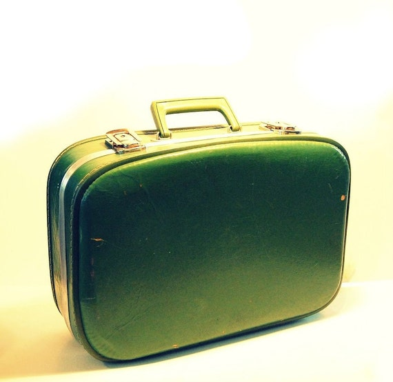 SALE - Vintage Green Hardcase Suitcase - Shabby Vintage - Green Luggage