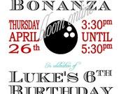 Printable Invitations- Bowling Bonanza by Bloom