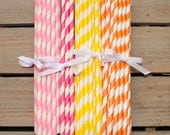 24 Striped Paper Straws- Choose from 14 Colors