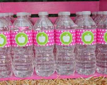 Printable Water Bottle Labels- Apple of My Eye Party by Bloom