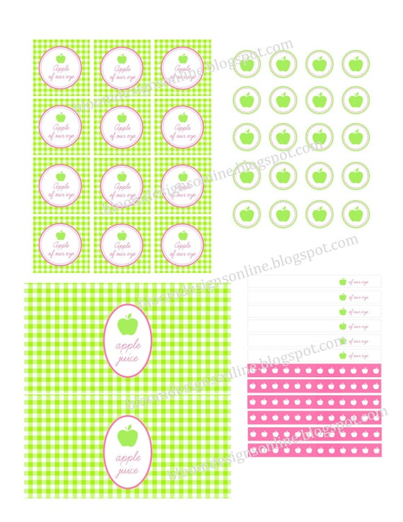 Instant Printable Juice Box, Straw Flags and Apple Cirlces- Apple of My Eye Party by Bloom