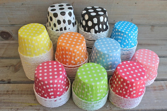 Mini Paper Candy Cup : Items similar to polka dot candy baking cups you pick