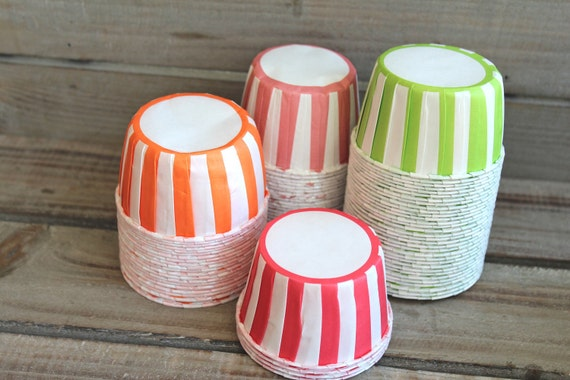 Striped Candy/Baking Cups- You Pick Your Color- Orange,  Red,  Apple Green