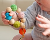 Teething toy with crochet wooden beads.