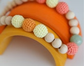 Nursing necklace - Colors of the fall. Yellow, coral, orange crochet teething necklace.