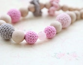 Pink and grey  teething crochet necklace. Nursing necklace for Mother and child, ready to ship