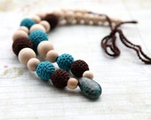 Chocolate and teal crochet necklace whit natural Chrysocolla stone, ready to ship