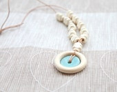 Green mint natural stone nursing ring necklace. Mammy and baby teething toy necklace.