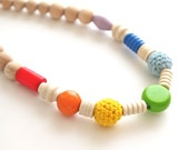 Summer rainbow. Colorful nursing necklace. Multicolour girls crochet necklace.