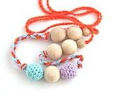 Girls crochet necklace, belt and bracelet. Mint, lavender and orange nursing necklace.  Mammy and baby teething necklace.