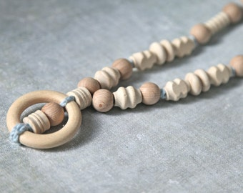 Wooden ring nursing necklace.  Girls crochet necklace. Mammy and baby teething necklace.