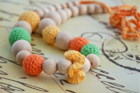 Yellow, green and orange necklace. Mamy and baby teething necklace.Girls crochet necklace.