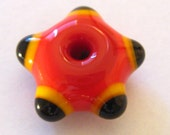 Tri-Color 5 point Bead - one of a kind handmade lampwork glass
