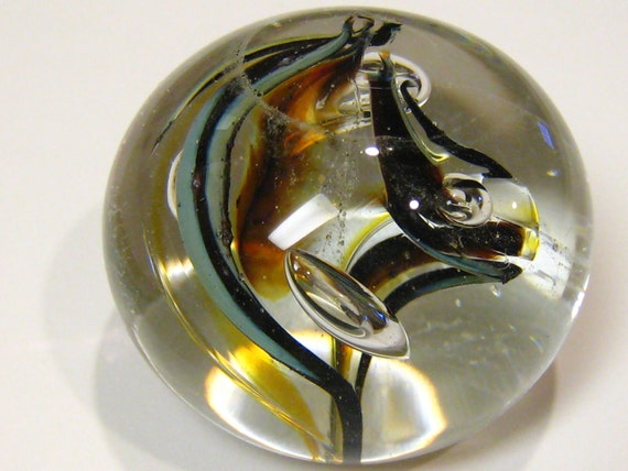 unique hand blown art glass paperweight - Double Spiral