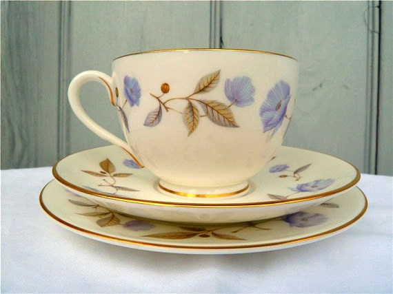 RESERVED FOR FIONA English Tea cup Trio Floral Poppy Royal Worcester