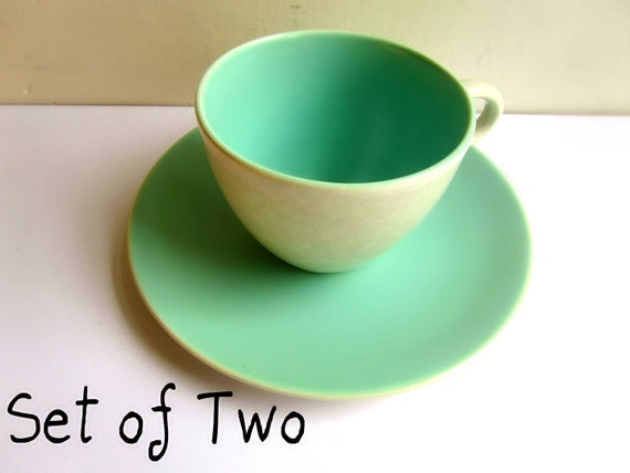 Coffee cup Poole Pottery Twintone Ice Green and Seagull Coffee 1940 british seaside UK 50s 40s  pastel